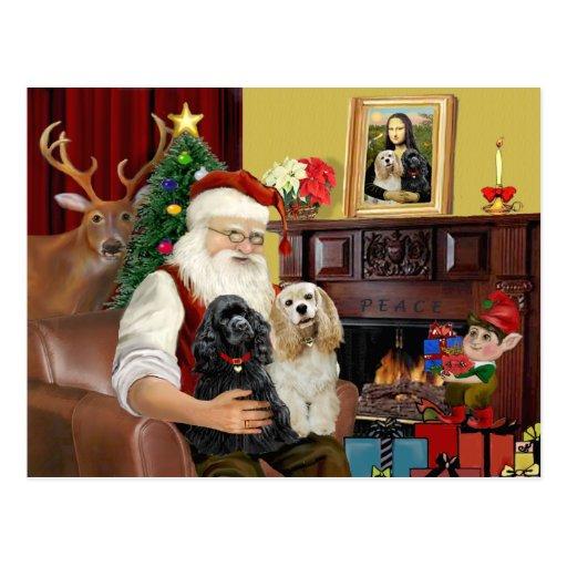 Santa's 2 Cocker Spaniels Post Cards