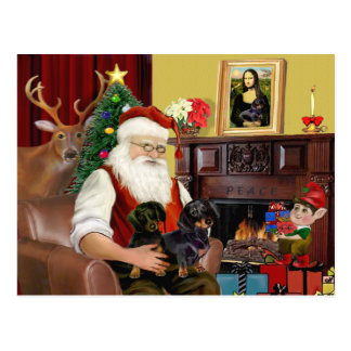 Santa's 2 Dachshunds (b-t) Postcard