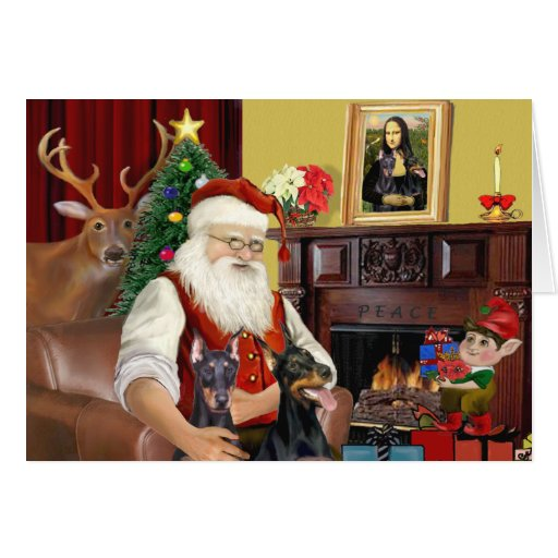 Santa's 2 Doberman Pinschers Cards