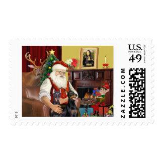 Santa's 2 Doberman Pinschers Postage Stamp