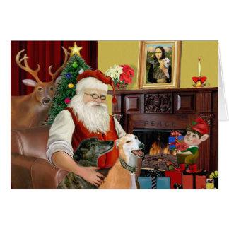 Santa's 2 Greyhounds Greeting Card