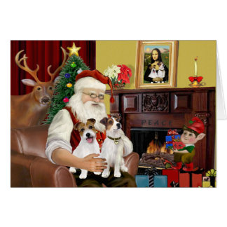Santa's 2 Jack Russell's Greeting Card