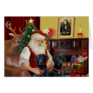 Santa's 2 Labradors (black) Greeting Card