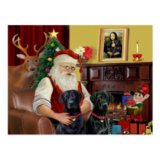 Santa's 2 Labradors (black) Postcard