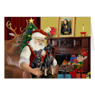 Santa's 2 Minaiture Pinschers Greeting Card