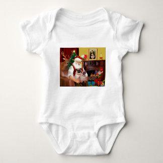 Santa's 2 Pugs (f+B) Baby Bodysuit