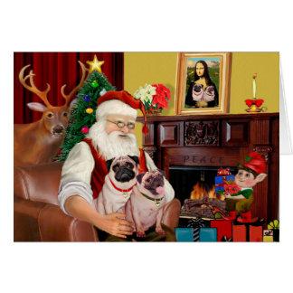 Santa's 2 Pugs (f+B) Card