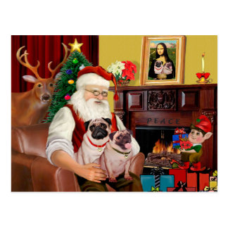 Santa's 2 Pugs (f+B) Postcard