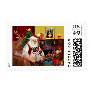 Santa's 2 Pugs (f+B) Stamps