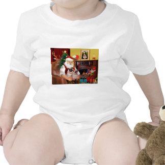Santa's 2 Pugs (f+B) T Shirts