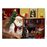 Santa's 2 Pugs (fawn + black) Greeting Cards