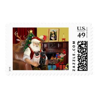 Santa's 2 Pugs (fawn + black) Postage