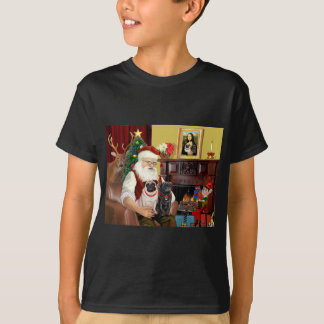Santa's 2 Pugs (fawn + black) T-Shirt