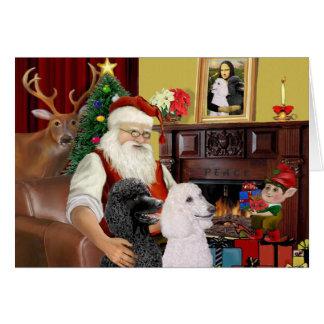 Santa's 2 Standard Poodles Greeting Card