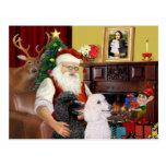 Santa's 2 Standard Poodles Postcards