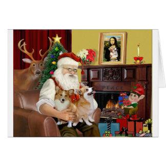 Santa's 2 Welsh Corgis (Pem.) Greeting Card