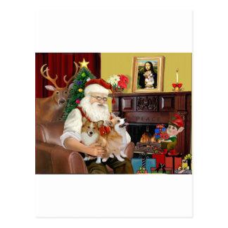 Santa's 2 Welsh Corgis (Pem.) Post Cards