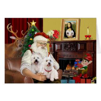 Santa's 2 Westies Greeting Card