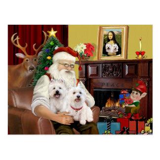 Santa's 2 Westies Postcard