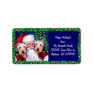 Santa's Airedale Terriers at Christmas Address Label