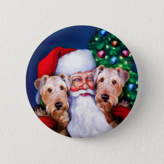 Santa's Airedale Terriers at Christmas Pinback Button