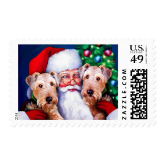 Santa's Airedale Terriers at Christmas Postage
