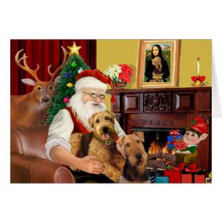 Santa's Airedales Greeting Card