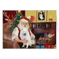 Santa's American Eskimo Dog Greeting Cards