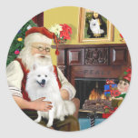 Santa's American Eskimo Dog Round Sticker