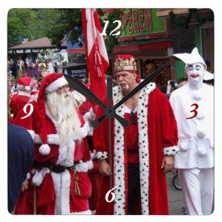 Santa's Around the World Square Wallclocks