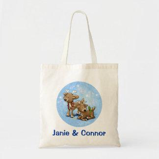 Santa's Baby Reindeer Tote Bags