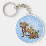 Santa's Baby Reindeer Basic Round Button Keychain