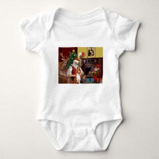 Santa's Basenji Baby Bodysuit