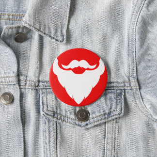 Santas beard graphic red white christmas button