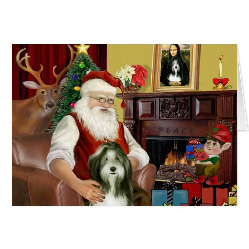 Santa's Bearded Collie (#9) Greeting Cards