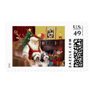 Santa's Bearded Collie Postage Stamp
