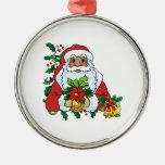 Santas Bells Round Metal Christmas Ornament