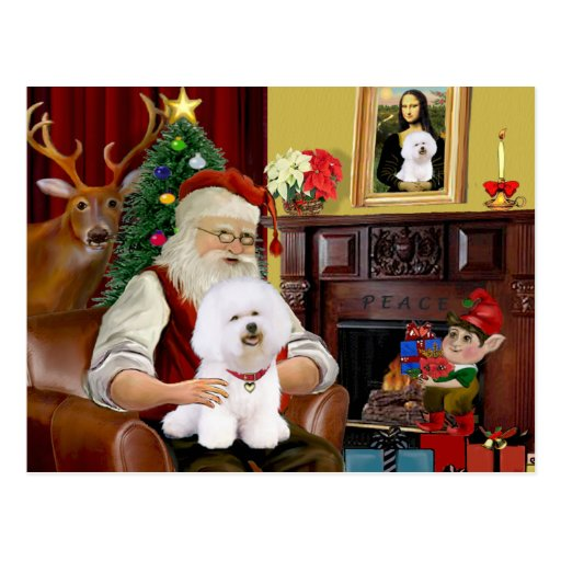 Santa's Bichon Frise (#1) Post Cards