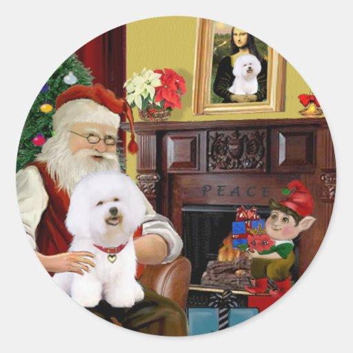 Santa's Bichon Frise (#1) Round Sticker