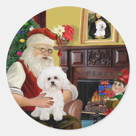Santa's Bichon Frise #2 Classic Round Sticker