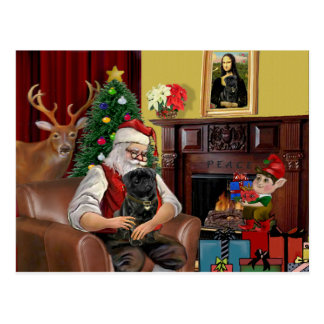 Santa's Black Pug Postcard