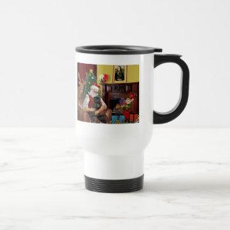 Santa's Black Pug Travel Mug