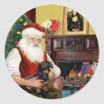 Santa's black / tan  Dachshund (#16) Sticker