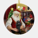 Santa's Black Toy/Min Poodle Ornament