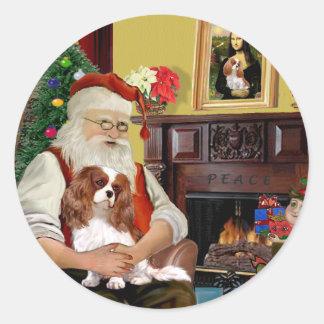 Santa's Blenheim Cavalier Classic Round Sticker