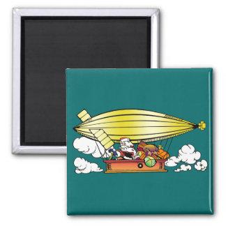 Santa's Blimp 2 Inch Square Magnet