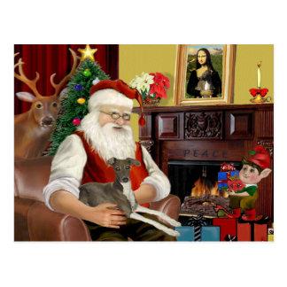 Santa's Blue Italian Greyhound Postcard