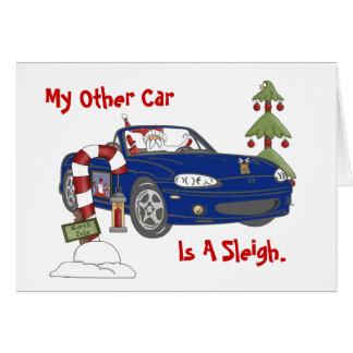 Santa's Blue Sleigh Greeting Card