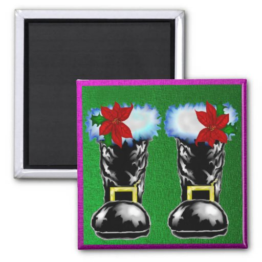 Santa's Boots Magnets Holly and Poinsettas