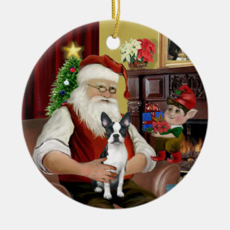 Santa's Boston Terrier #1 Christmas Tree Ornaments